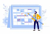 Businessman Check Calendar. Man With Pencil Planning Work Events At Planner, Business Worker Day Pla poster