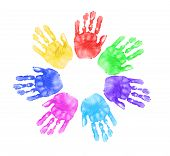 stock photo of daycare  - Daycare Preschool Handprints of Children In Multiple Colors - JPG