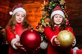 Santa Claus Little Girls Sisters. Little Girl Sisters In Red Hats. Wait For Santa Claus. Christmas T poster