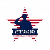 Happy Veterans Day Honoring All Who Served Retro Vintage Logo Badge Celebration Poster Background Ve poster