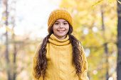 Hat Keep Warm. Kid Wear Warm Soft Knitted Hat. Warm Woolen Accessory. Girl Long Hair Happy Face Natu poster