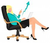 Successful Business Lady Lady Showing Profit Sitting On Directors Chair. poster