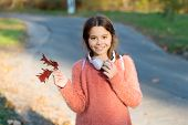Kid Girl Relaxing Autumn Leaf With Modern Wireless Headphones. Listening Songs. Melody For Good Mood poster
