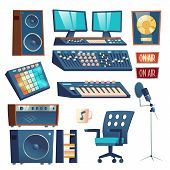 Studio Sound Recording Equipment Set Isolated On White Background. Mounting Control Panel Equalizer  poster