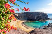 Landscape With Turquoise Ocean Water On Papagayo Beach, Lanzarote, Canary Islands, Spain poster