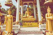 Laos, Old Buddha Image In Wat Sisaket Popular Place To Visit In Vientiane City And Landmark, Old Bud poster