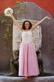 stock photo of quinceanera  - Hispanic girl wearing Quinceanera dress - JPG