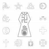 Religion Symbol, Jainism Outline Icon. Element Of Religion Symbol Illustration. Signs And Symbols Ic poster