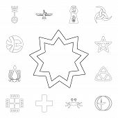 Religion Symbol, Baha Outline Icon. Element Of Religion Symbol Illustration. Signs And Symbols Icon  poster