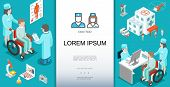 Isometric Medical Care Template With Doctor Consulting Patients On Wheelchairs Microscope Hospital H poster