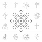 Religion Symbol, Buddhism Outline Icon. Element Of Religion Symbol Illustration. Signs And Symbols I poster