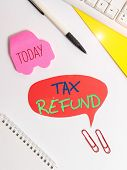 Text Sign Showing Tax Refund. Conceptual Photo Refund On Tax When The Tax Liability Is Less Than The poster