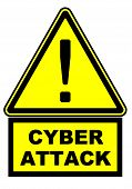 Cyber Attack. Warning Sign With Black Exclamation Mark And Black Text Cyber Attack. 3d Illustration poster