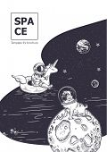 Space Background. Astronaut Swim On Swimming Circle Of A Unicorn In The Space. Pug Astronaut Is Sitt poster