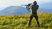Nice Shot. Army Forces. Man Military Clothes With Weapon. Brutal Warrior. Rifle For Hunting. Hunter  poster