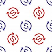 Blue And Red Return Of Investment Icon Isolated Seamless Pattern On White Background. Money Convert  poster