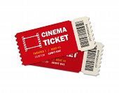 Two Ticket Of Cinema For Movie. Template Red Vip Entry Pass Tickets For Theater, Festival, Cinema On poster