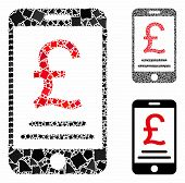 British Pound Mobile Payment Mosaic Of Irregular Elements In Variable Sizes And Color Tints, Based O poster