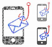 Smartphone Mail Phishing Mosaic Of Uneven Elements In Various Sizes And Color Tinges, Based On Smart poster