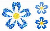 Flower Composition Of Inequal Pieces In Various Sizes And Color Hues, Based On Flower Icon. Vector I poster