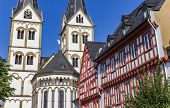 Severus Church And Half Timbered House In Boppard, Germany poster