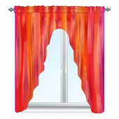 Red Velvet Window Curtain Icon. Cartoon Of Red Velvet Window Curtain Vector Icon For Web Design Isol poster