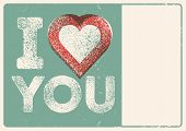 I Love You. Valentine Greeting Card With Place For Name. Heart Symbol Typographical Vintage Style Gr poster