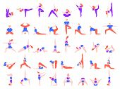 Yoga Poses People. People Doing Yoga Exercise, Young Man And Woman Yoga Community Vector Illustratio poster