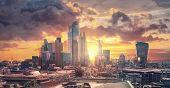 City Of London Skyscrapers And Sunset. Beautiful Dramatic Sky, London, Uk poster