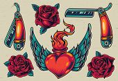 Colorful Flash Tattoo Designs With Straight Razors Blooming Roses Winged Heart With Fire In Vintage  poster