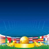 Постер, плакат: Футбол фон Евро чемпионат флаги и Золотой по футболу