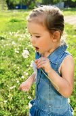 stock photo of little girls  - Portrait of cute little girl with dandelion - JPG