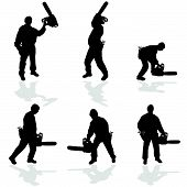 foto of man chainsaw  - man with chainsaw vector illustration on a white - JPG