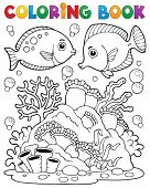 stock photo of biodiversity  - Coloring book coral reef theme 1  - JPG