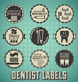 stock photo of cavities  - Collection of retro style dentist and brushing your teeth labels and icons - JPG