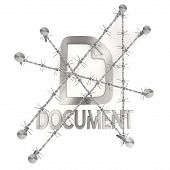 Locked metallic document icon with razor wire