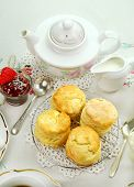 foto of devonshire  - Devonshire tea and fresh baked scones with jam and cream - JPG