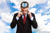 image of perception  - Concentrated businessman trying to focus his mind - JPG