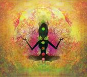 picture of aura  - Yoga lotus pose Padmasana with colored chakra points  - JPG