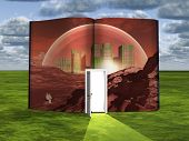 picture of encounter  - Book with science fiction scene and open doorway of light - JPG