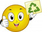 stock photo of reprocess  - Illustration of Smiley with thumbs up holding a Recycle sign - JPG