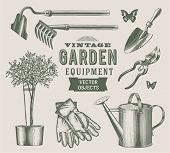 stock photo of hoe  - Vintage garden objects - JPG