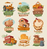 stock photo of tractor  - Retro farm emblems - JPG