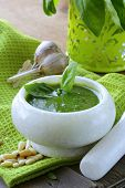 picture of pesto sauce  - Italian pesto sauce with pine nuts and basil - JPG