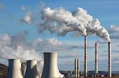 stock photo of smog  - white smoke of emission from coal power plant - JPG