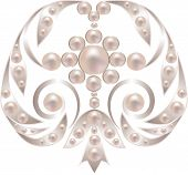 image of brooch  - Silver brooch with pearls isolated on white - JPG