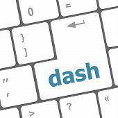 stock photo of dash  - dash word on keyboard key notebook computer button - JPG