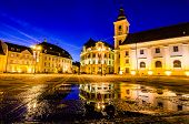 stock photo of sibiu  - Sibiu town square at blue hour - JPG