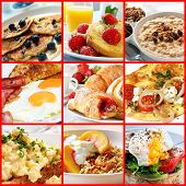 Collage of breakfast images.  Includes pancakes, french toast, oatmeal, bacon and eggs, continental,
