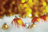 golden christmas ball on a furry background, christmas balls poster